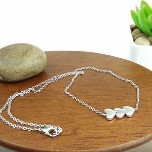 Heart Silver Tone Chain Necklace